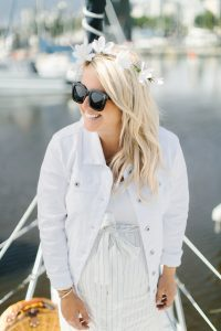 white jean jacket, oversized sunglasses daisy crown