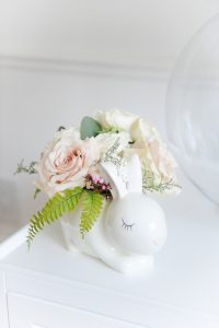 white bunny vase with florals