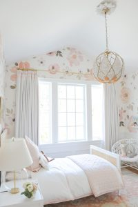 soft pink floral little girls room
