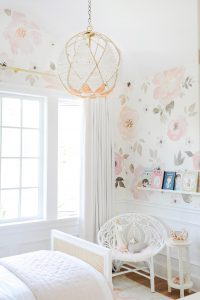 pink and white beaded chandelier little girls room