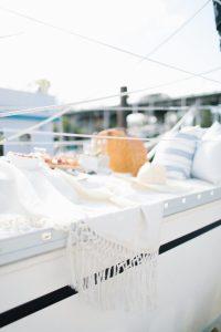 white blanket on sailboat