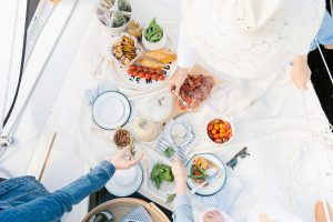 charcuterie on sailboat picnic