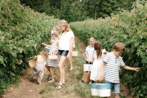 kids out raspberry picking
