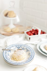cornmeal shortcakes with vintage bowl