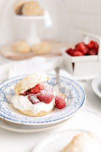 cornmeal shortcake with fresh raspberries and whipped cream