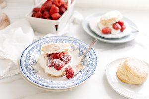cornmeal shortcake, raspberries and cream in vintage bowl