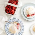 raspberry and cornmeal shortcakes with cream