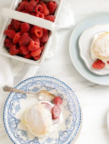 raspberry and cornmeal shortcakes with cream
