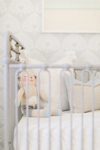 grey metal crib details