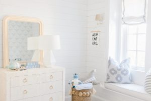 shiplap wall window seat nursery