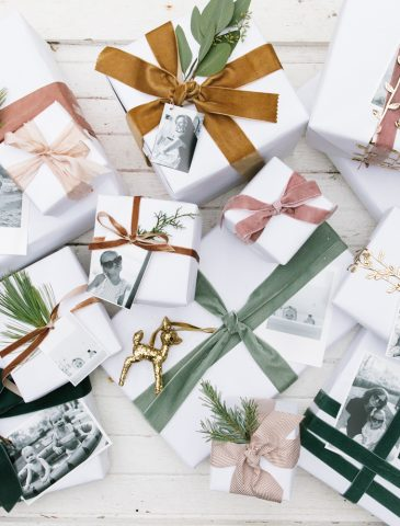 white wrapping paper with velvet ribbon