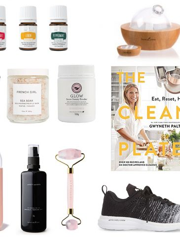 water bottle training shoes sports bra the clean plate magazine gwyneth paltrow cinderose essential oils crew neck sweater humidifier wellness goodness health