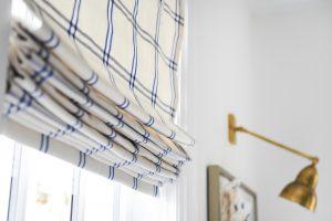 plaid striped drapes on a window