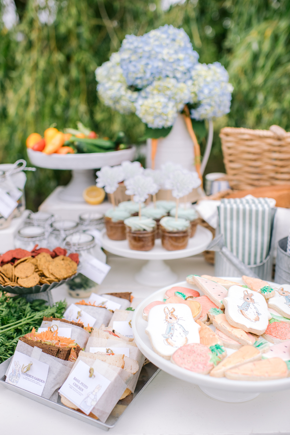 peter rabbit themed table of treats