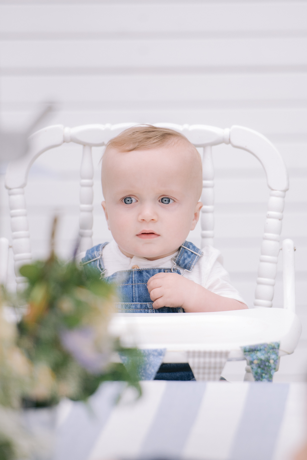birthday baby boy in high chair
