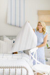 Monika Hibbs Displaying Brighton Stripes Wallpaper from the #MHxUrbanWalls Collection