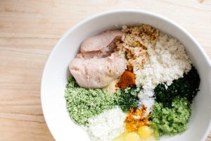 Loaded Green Chicken Meatball Ingredients in Bowl