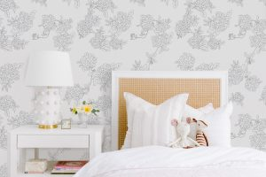 Bedroom with the #MHxUrbanWalls with the Hydrangeas Wallpaper in the Background