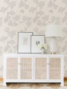 Living Room with the #MHxUrbanWalls Hydrangeas Wallpaper
