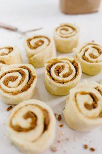 Prepping cinnamon bun rolls